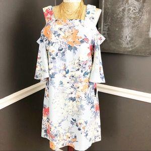 Taylor Cold Shoulder Powder Blue Floral Dress NWT
